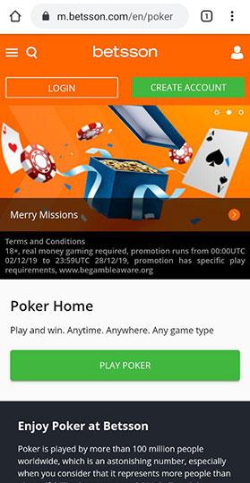 Скачивание мобильного клиента с сайта рума Betsson Poker.